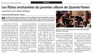 Press Review - L'Eau-Vive, Regina - Les flûtes enchantées de Combine