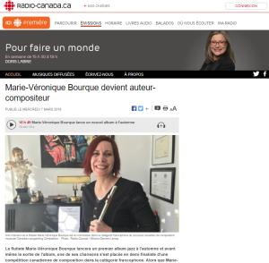 Press Review - Radio-Canada - Marie-Véronique Bourque devient auteur-compositeur